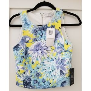 Lucy Paris yellow floral sleeveless crop top